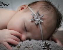 Crystal Snowflake Headband, Silver Rhinestone Headband, Baby Headband, Toddler headband Newborn Headband, Frozen Headband, Jeweled Headband