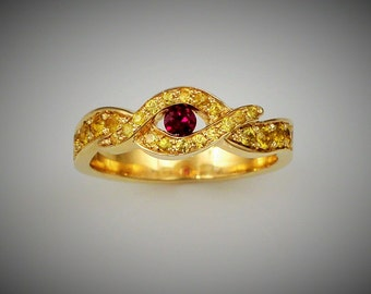 YELLOW SAPHIRES and RUBIS ring - Yellow gold