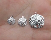 Sterling Silver Sand Dollar Charms(4 total) or (6 total)3 Sizes
