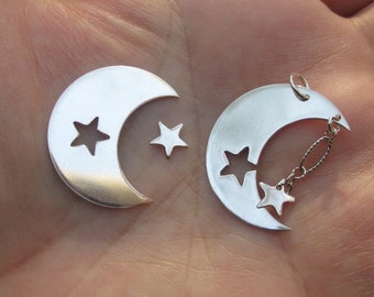 Sterling Silver Moon Stampings with star cut out(1 moon and star)