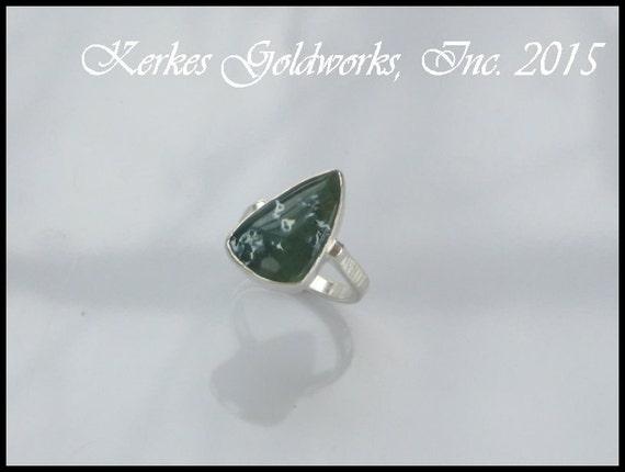 Agate Ring Silver Sage and Mint Green Freckled Afate Handmade