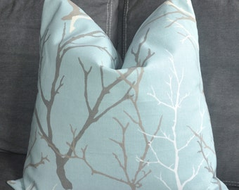 Duralee, Decorative Pillow, Throw Pillow, Tree Branch, Blue Twig, Home Furnishing, Home Decor, Handmade Pillow