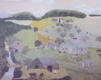 Grandma Moses-The Old Oaken Bucket-  1943 Painting, Bookpage, Color Plate, 1973 Reproduction Print, 11.5 x 9.2 in