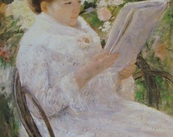 Mary Cassatt-Lydia Reading in a Garden,1880, Color Plate/ Book Print/7.5 x 10 in