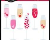 Valentine Champagne Clip Art Instant Donwload PNG, JPG, EPS