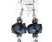 Blue & Black Lampwork Glass Bead Earrings, earrings, bead earrings, infinity, loops, dangle earring