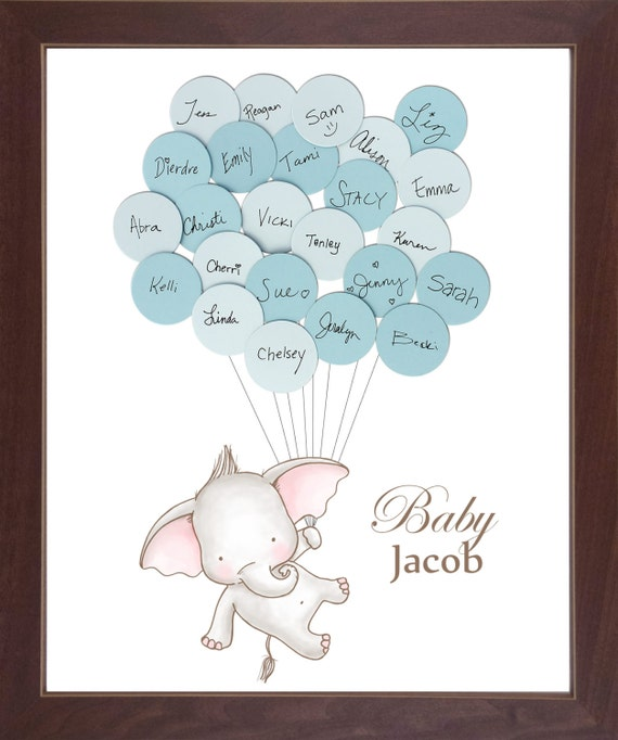 Baby Book Ideas: Baby Shower Guest Book Elephant Guest Book By