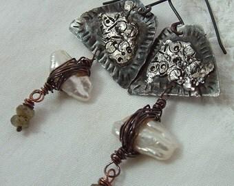 Pearl and labradorite, rustic Winter Series, mixed metal, handmade dangle earrings by Vintajia Adornments