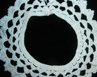Womens Crochet Lace Collar-Vintage Wide antique -Hand Made Crochet Lace Collar