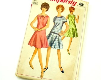 Vintage 1960s Womens Size 16 One Piece Dress Simplicity Sewing Pattern 6341 / bust 36 waist 28 / Complete