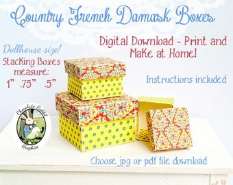 DIY Miniature French Country Damask Stacking Boxes Dollhouse 1:12 Printable Box Digital Download Instructions Tutorial Included