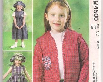 Toddlers Pattern, McCalls 4500, Fringed Jacket, Sleeveless Pullover Dress, Hat Pattern, Girls Pattern, Childrens Clothing, 1 2 3 Uncut