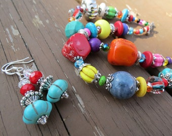 Two Strand Multi Colored Chunky Beaded Bracelet with Earrings