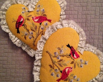 "Vintage Cross Stitch Heart Pillows 10""  Red Birds  on branches so pretty!!! Set of 2"