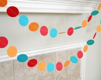 Turquoise, Red, White Paper Garland, Wedding Decorations, Summer Party Decorations, Birthday Party Decor, Neutral Baby Shower Decor