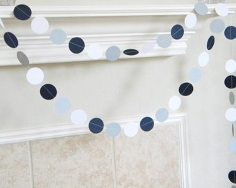 Paper Garland, Navy Gray White Nautical Graduation Photo Booth Backdrop, Navy Gray Wedding, Shower, Whale Theme Birthday Decorations