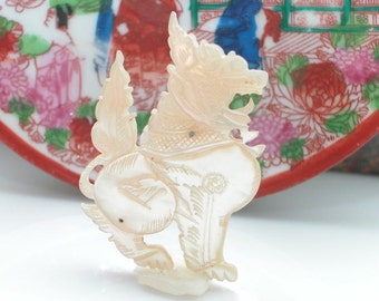 Antique- Hand Carved- Fu Foo Dog Lion -Mother of Pearl Pin Brooch