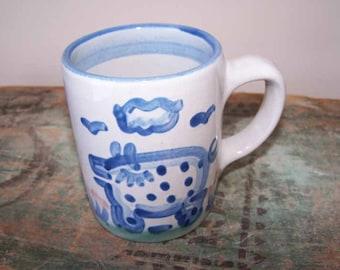M A Hadley, Pottery Pig Mug, Country Scene, Louisville Pottery, Stoneware Mug, Blue Green Pink, Vintage Mug