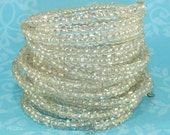 6 Clear Crystal E Bead Bracelets Stretch Beaded Memory Wire Bangle Set Bulk Bracelets Party Favor Wedding Bridesmaid Gift Valentine's Day