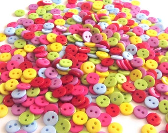 100 BUTTONS - Assorted Small Rainbow Colored Buttons, 3/8 inch, sewing, scrapbooking, craft, cards, notions, doll clothes
