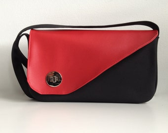 Red and Black Purse, red vinyl purse, black vinyl handbag, small vinyl purse