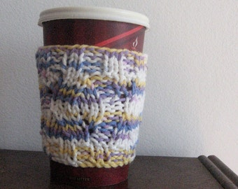 Knit Coffee Sleeve, Knit Mug Cozy, Stocking Stuffer, Knit Coffee Cup Cozy, Vegan Knits, Gifts for Her