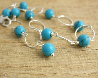 Bracelet with Reconstituted Turquoise Beads and Sterling Silver Loops CB-38