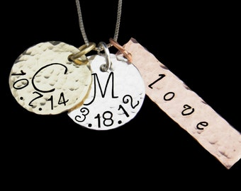 Hand Stamped Jewelry, Personalized Tri-Color Initials and Date Necklace, Custom Hand Stamped Necklace