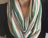 Infinity scarf. Great gift idea. Mini stripes pattern. Women. Loop. Winter. Spring. SALE.