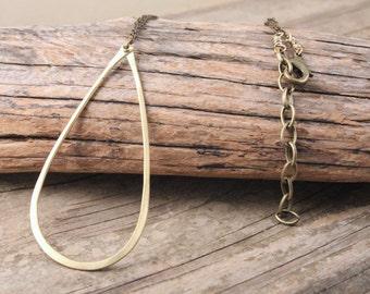 Brass Riveted Teardrop Metalwork Necklace