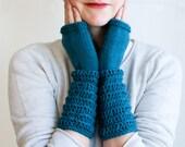 Teal Blue Wool, Long Layered Scrunch Cuff, Hand Knit Fingerless Gloves, Beehive Mittens (A11)