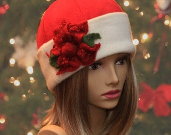Mary Lou, 100% pure cashmere Santa hat, cloche with hand felted merino wool poinsetta flower, Red