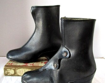Vintage Granny Galoshes, Deadstock Tyler Black Rubber Boots, Overshoes, USA  Woman size 4 1/2, pull over high heels, Antique, Indie hipster