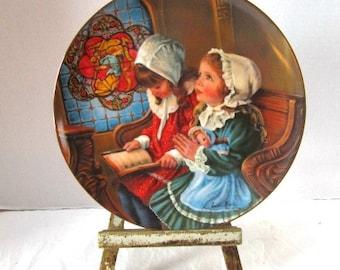 Vintage Childhood Almanac Collector Plate, Prayer, November Thanksgiving Two Sweet Sisters Hamilton Collection Sweet Gender Reveal Keepsake,