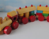 Discovery Toys 1988 Stack 'N' Track Train with Wooden Blocks in Original Box