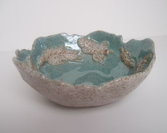 Hand built Native American Inspired Crooked Feather, Broken Feather, Down Stoneware Bowl