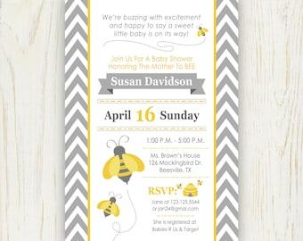 Bee Baby Shower Invitation - Digital