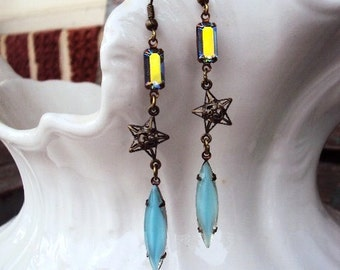 Vintage Style Mystic Earrings Opaque Opal Turquoise Navette Stones Filigree Star and Iridescent blue Baguette Rhinestones