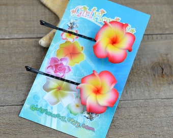 Plumeria Hair  Pins, 1 inch Flower,   Floral Hair Pins, Bobby Pins