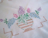 Vintage Dining Hand Stitched Tablecloth Floral Design Tea Party Tablecloth Garden Cloth
