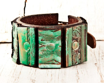 Leather Jewelry Vintage Tooled Bracelet Cuff