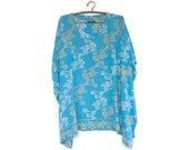 Caftan, Kaftan, Coverup, Short, Rayon, Turquoise