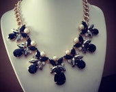 ON SALE Multi Black, Ivory, and Steel Grey Chunky Bib Statement Necklace and Earrings set