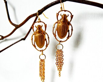 Scarab Beetle Earrings Gold/ with fringe and gold ear hooks/ sensitive ears/