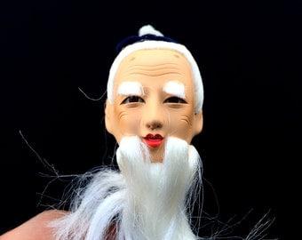 Japanese Doll Head - Hina Matsuri Doll - Old Man Doll Head -  Body Part (D4-56)