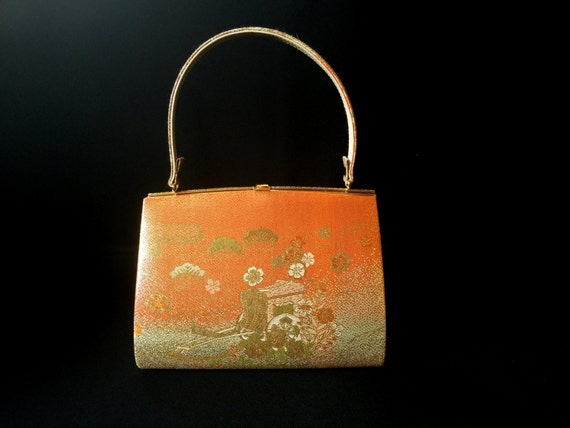 Vintage Japanese Kimono  Bag - Vintage Bag - Japanese Bag - Bridal Bag -