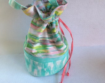 Sock Knitting Project Bag, small drawstring bag, aqua blue and coral pink Iza Pearl fabric,  organizer for knitting, crocheting projects