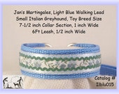 "Jan's Martingales, Light Blue Collar Leash Combination Walking Lead, Italian Greyhound, Small Dog, Ilblu015ze, 7"" Collar Section"