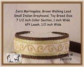 "Jan's Martingales, Brown Collar Leash Combination Walking Lead, Italian Greyhound, Small Dog Size, 7 1/2"" Collar Section"