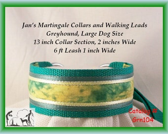 Jan's Martingales,  Green Walking Lead, Collar and Lead Combination, Greyhound, Large Dog Size, Grn104